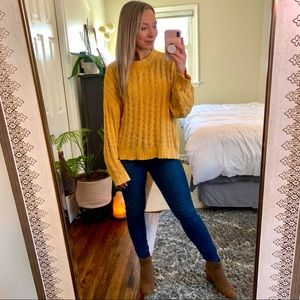 AEO Chenille Cableknit Yellow Crewneck Sweater